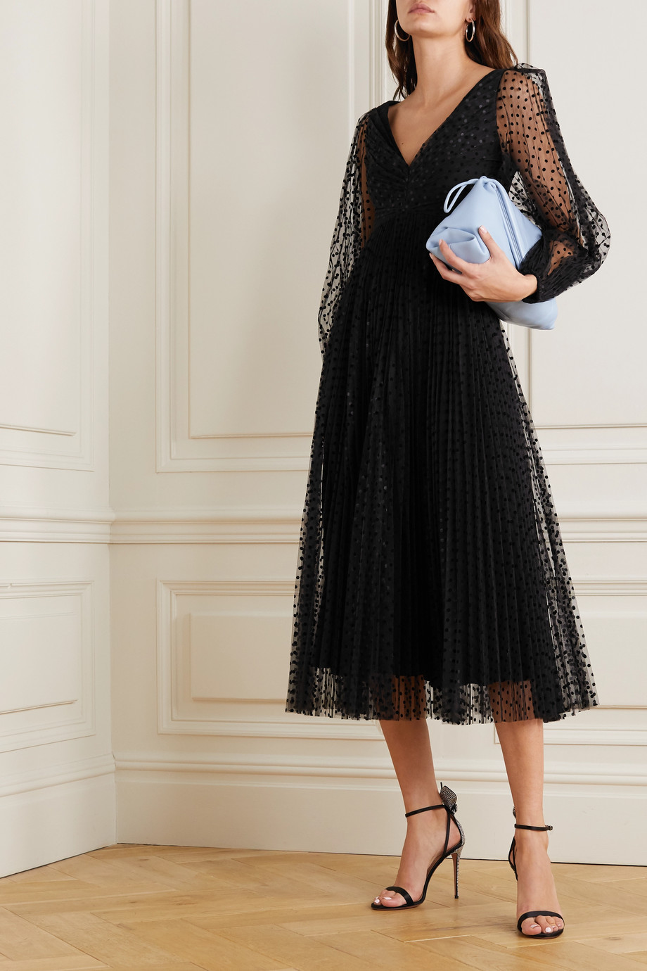 Zimmermann Charm pleated polka-dot flocked tulle midi dress