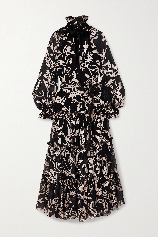 Zimmermann Robe longue en mousseline dévorée à volants et à liens Ladybeetle