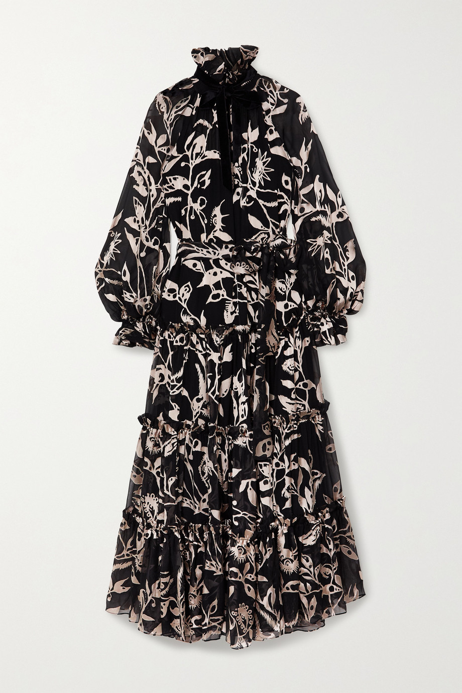 Zimmermann Ladybeetle tie-detailed tiered devoré-chiffon maxi dress