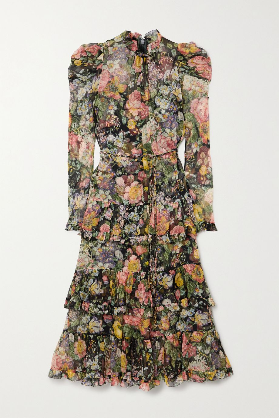 Zimmermann Ladybeetle belted tiered floral-print silk-georgette midi dress
