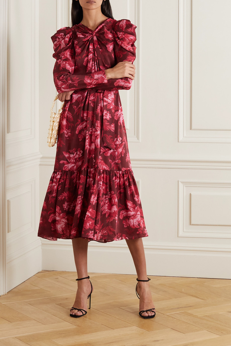 Zimmermann Ladybeetle gathered floral-print silk-chiffon midi dress