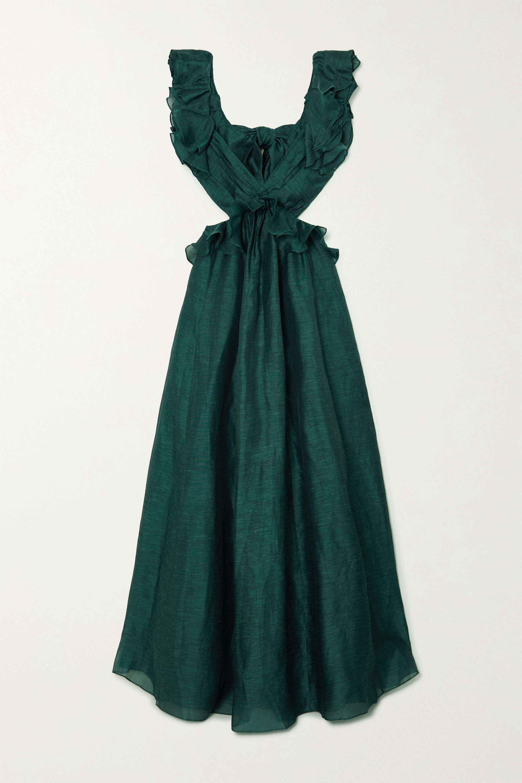 Zimmermann Robe du soir en lin et soie mélangés à volants et à nœud Ladybeetle