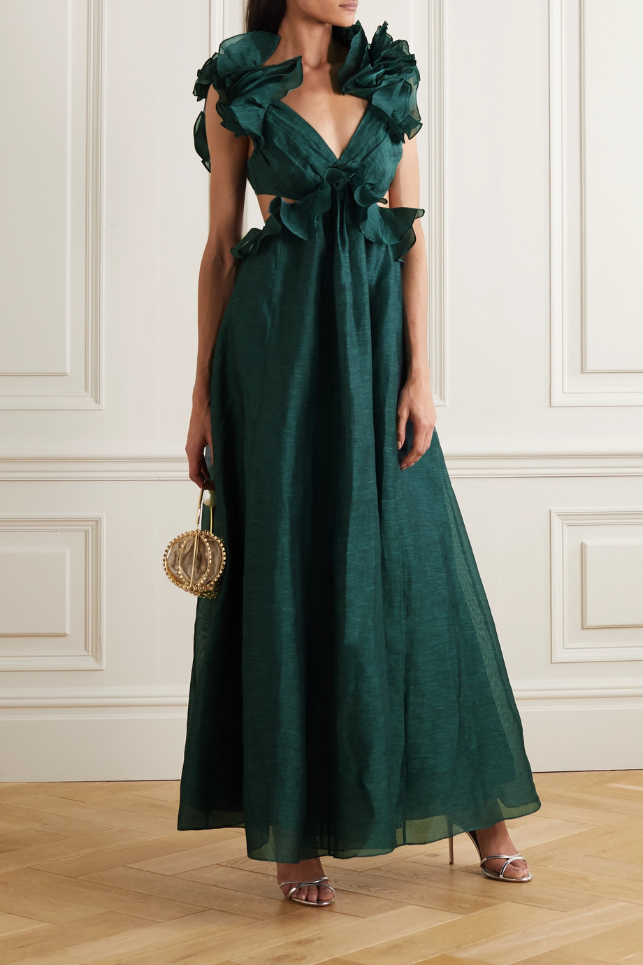 Zimmermann Ladybeetle bow-detailed ruffled linen and silk-blend gown