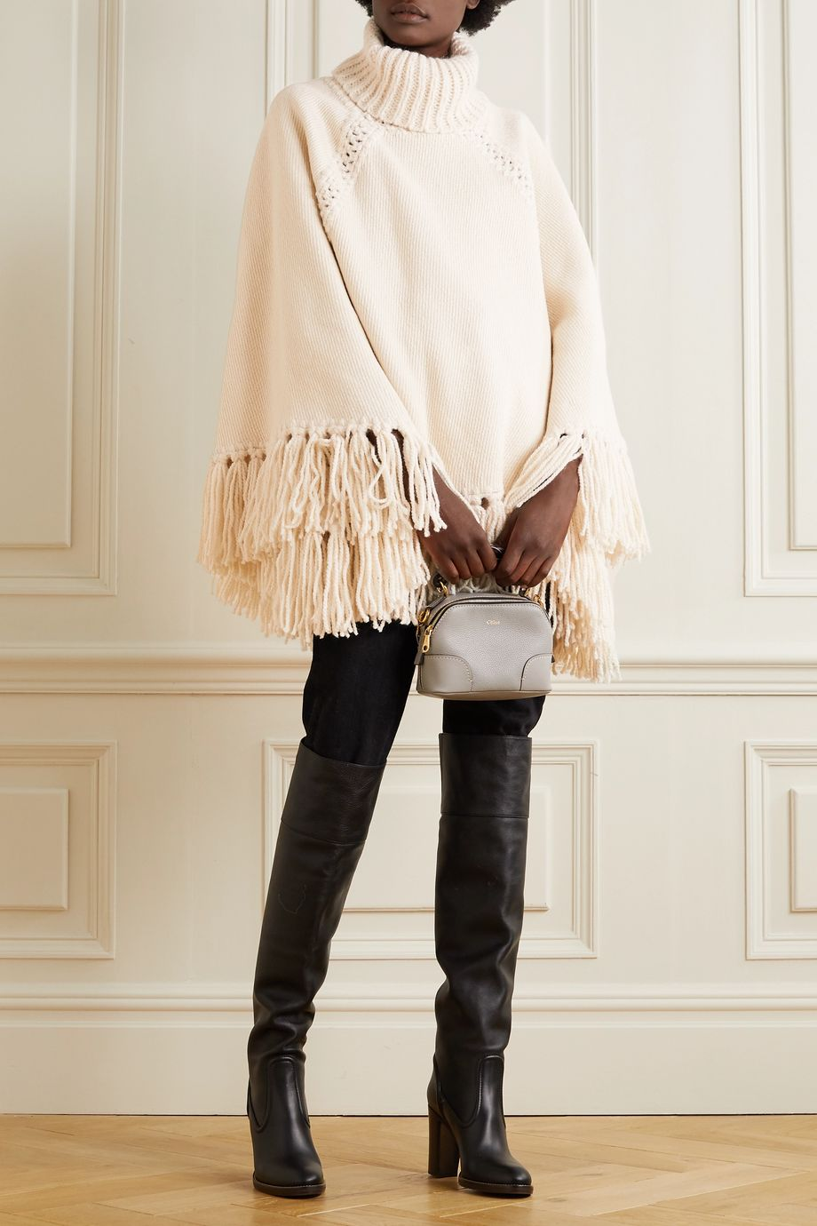 Zimmermann Ladybeetle fringed knitted turtleneck poncho