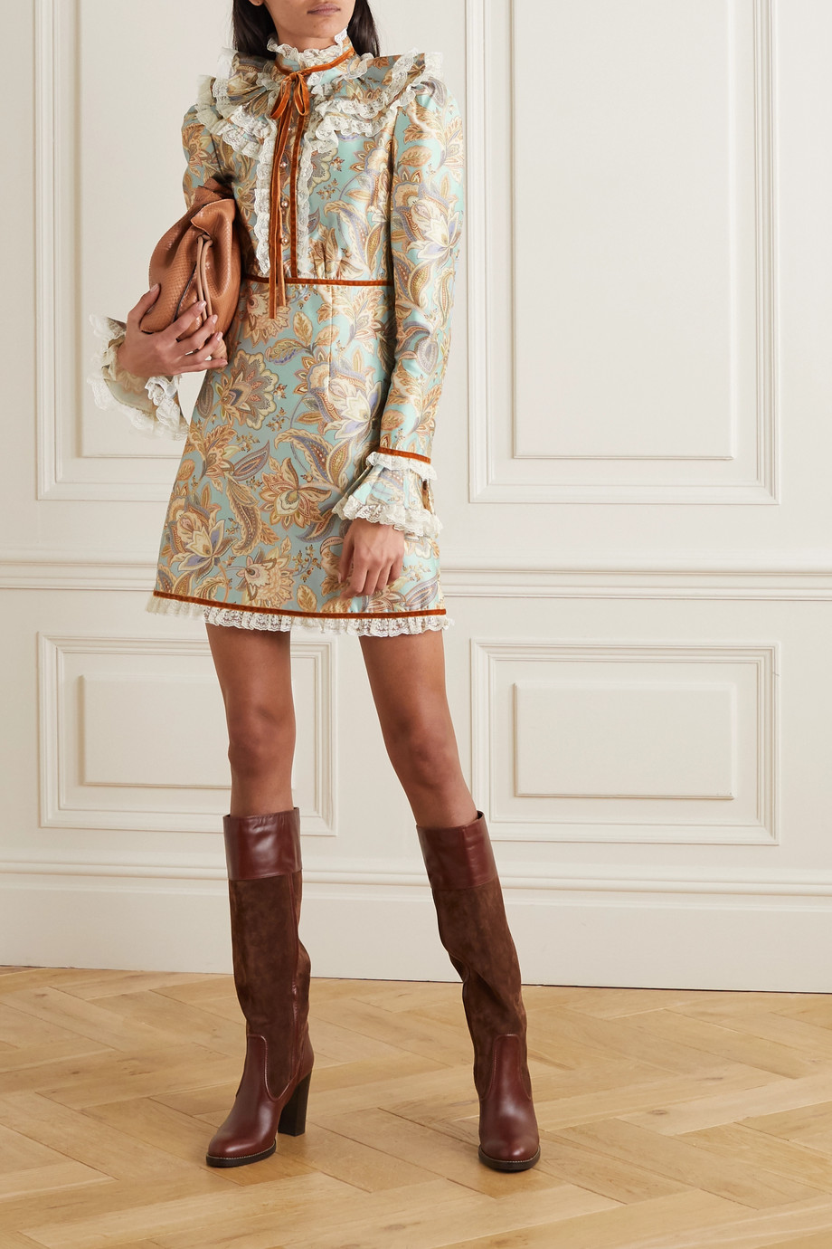 Zimmermann Ladybeetle lace and velvet-trimmed printed wool and silk-blend mini dress