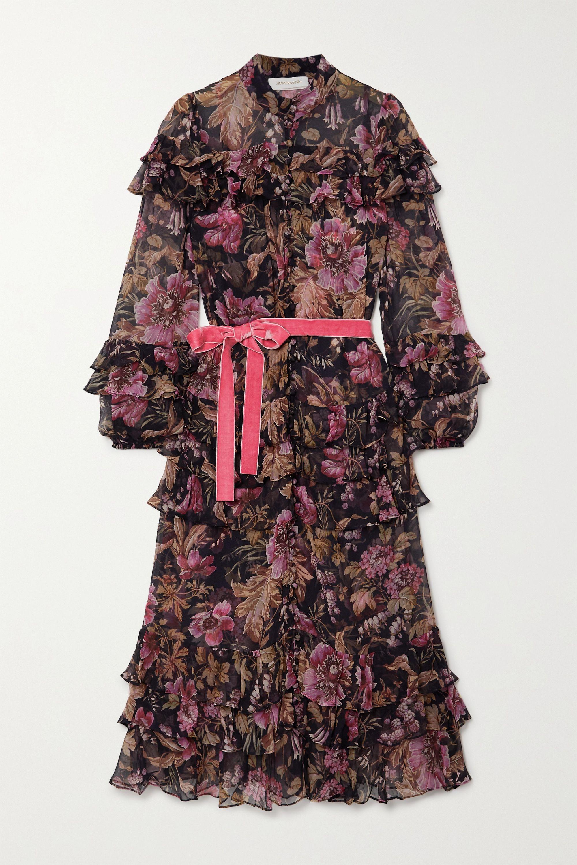 Zimmermann Robe midi en mousseline de soie à imprimé fleuri, volants et ceinture Lucky