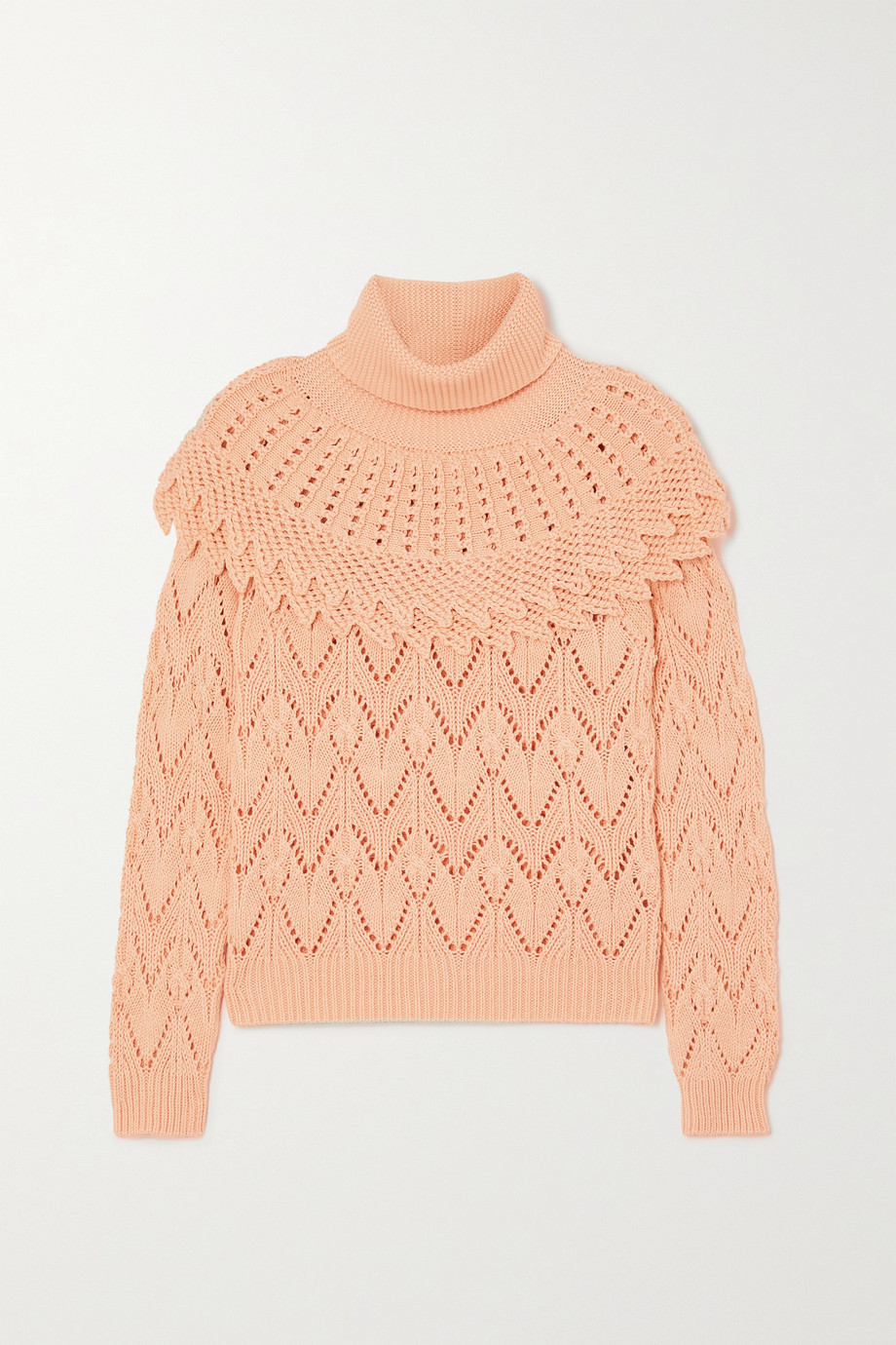 Zimmermann Ladybeetle pointelle-knit cotton and linen-blend turtleneck sweater