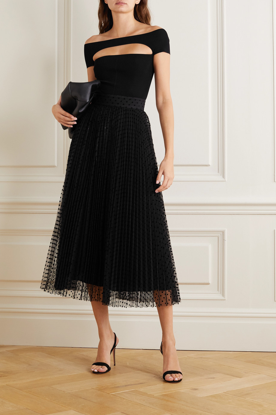 Zimmermann Charm pleated polka-dot flocked tulle midi skirt