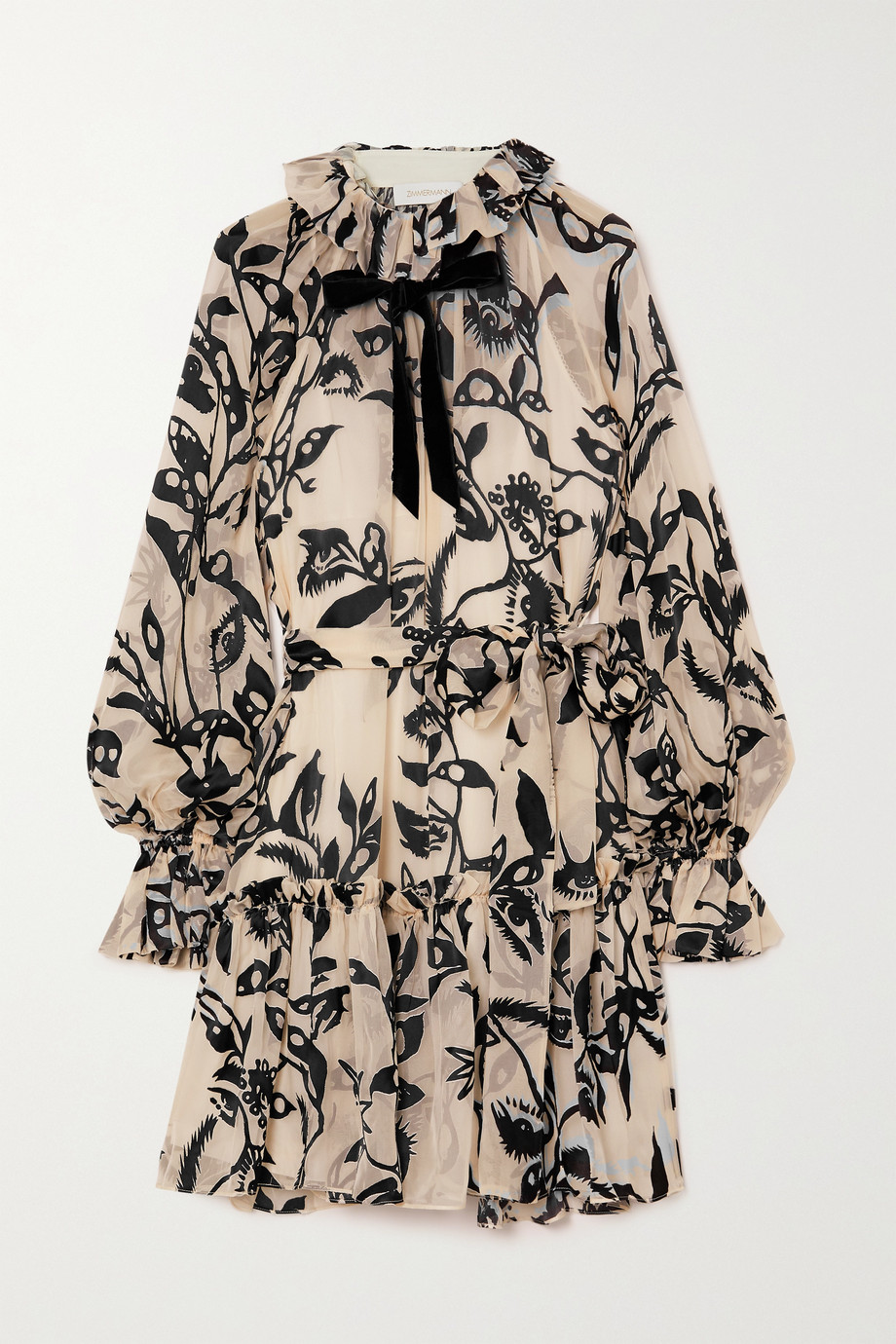 Zimmermann Ladybeetle pussy-bow ruffled devoré-velvet mini dress