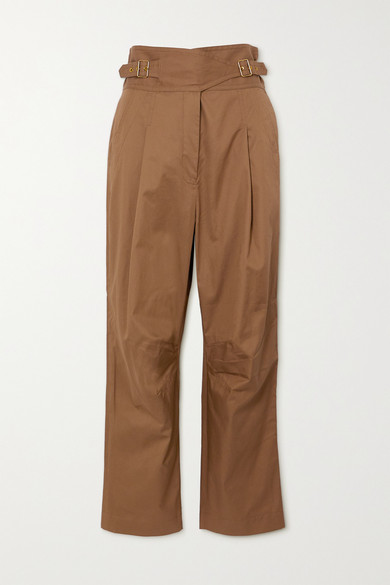 Zimmermann Cottons LADYBEETLE BUCKLED COTTON-TWILL TAPERED PANTS