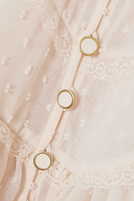 Zimmermann Blouse en mousseline plumetis à finitions en dentelle Ladybeetle