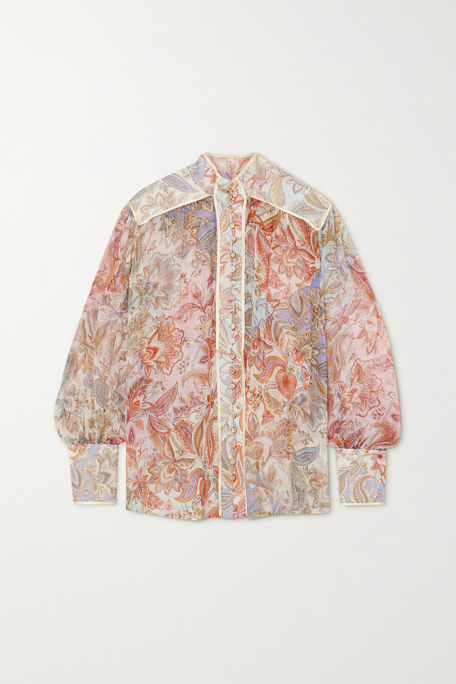 Zimmermann Lucky Bound satin-trimmed printed silk-georgette blouse