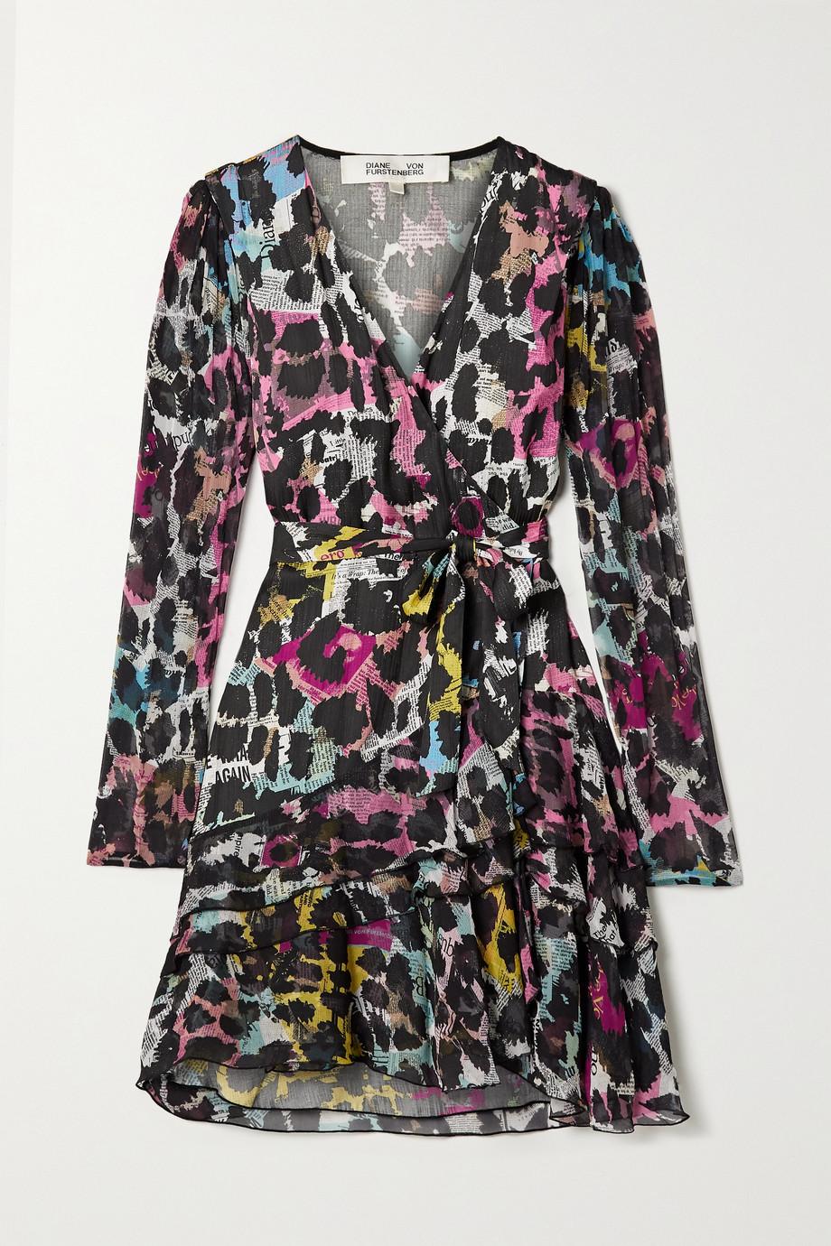 Diane von Furstenberg Keyla 印花提花缎布顺纡绉裹身迷你连衣裙