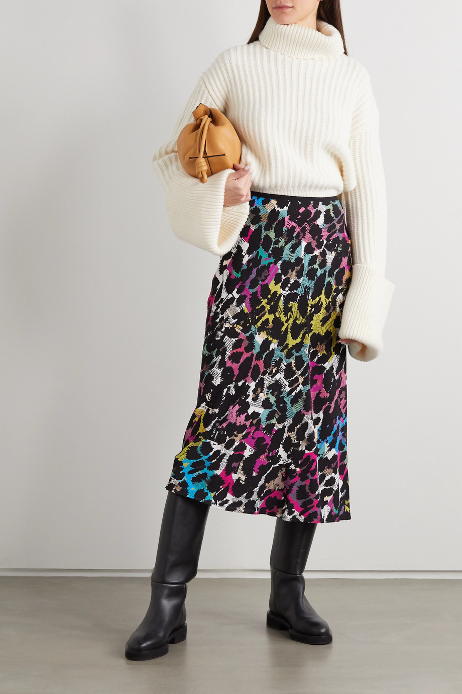 Diane von Furstenberg Mae leopard-print crepe midi skirt