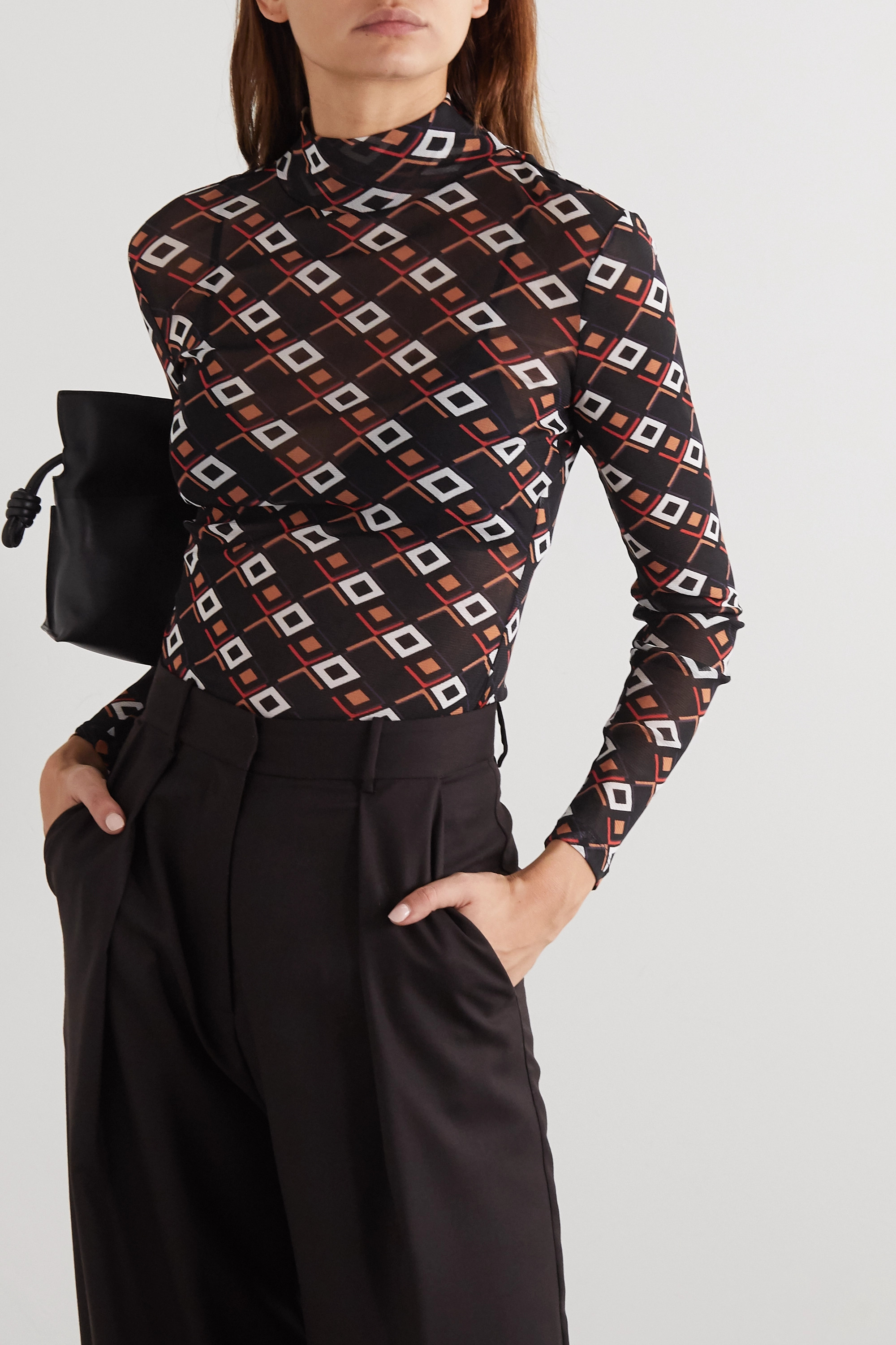 Diane von Furstenberg Remy printed stretch-tulle turtleneck top