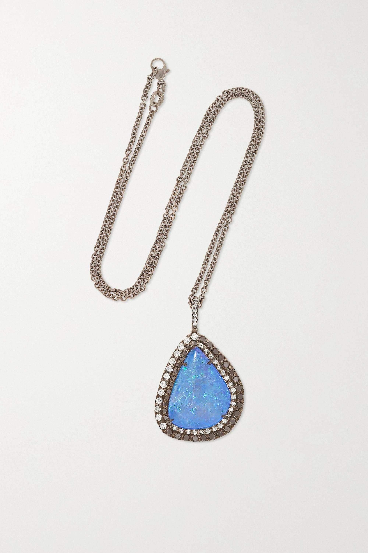 Kimberly McDonald + NET SUSTAIN Kette aus geschwärztem 18Karat Weißgold mit Opal und Diamanten