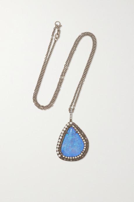 White gold 18-karat blackened white gold, opal and diamond necklace   Kimberly McDonald hEaYkS