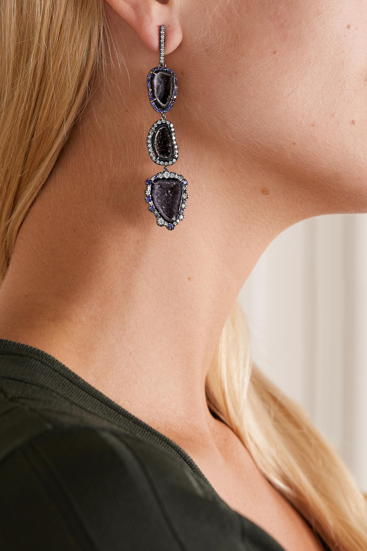 Kimberly McDonald 18-karat blackened white gold multi-stone earrings
