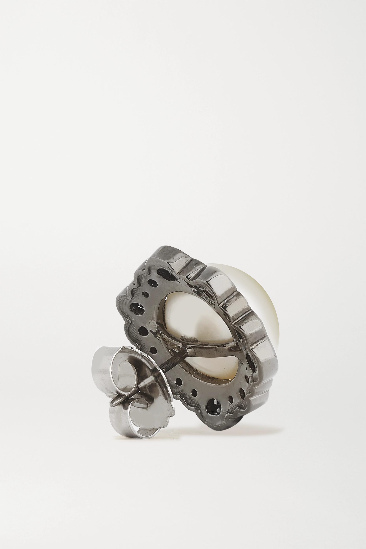 Kimberly McDonald 18-karat blackened white gold, pearl and diamond earrings