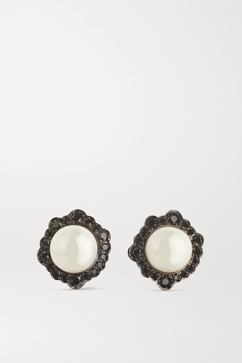 Kimberly McDonald Boucles d'oreilles en or blanc 18 carats noirci, perles et diamants
