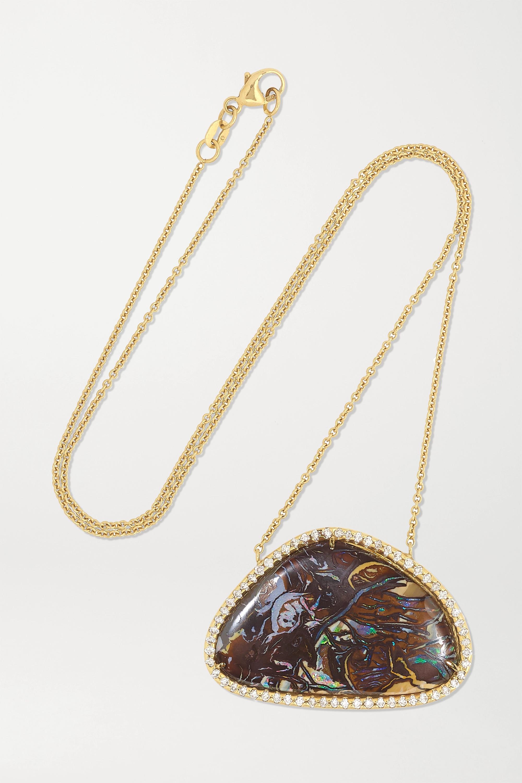 Kimberly McDonald + NET SUSTAIN 18-karat gold, opal and diamond necklace