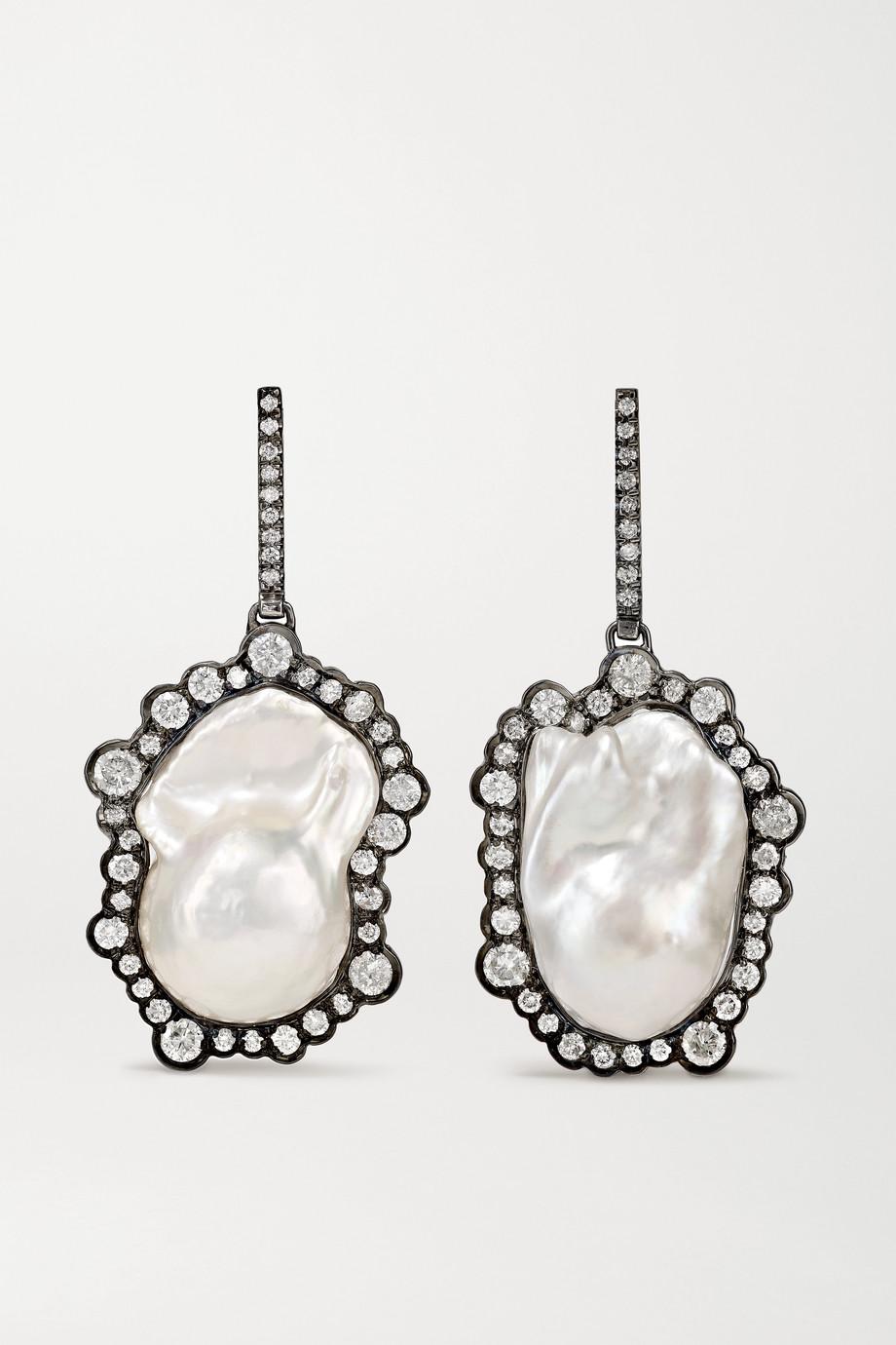 Kimberly McDonald 18-karat blackened white gold, diamond and pearl earrings