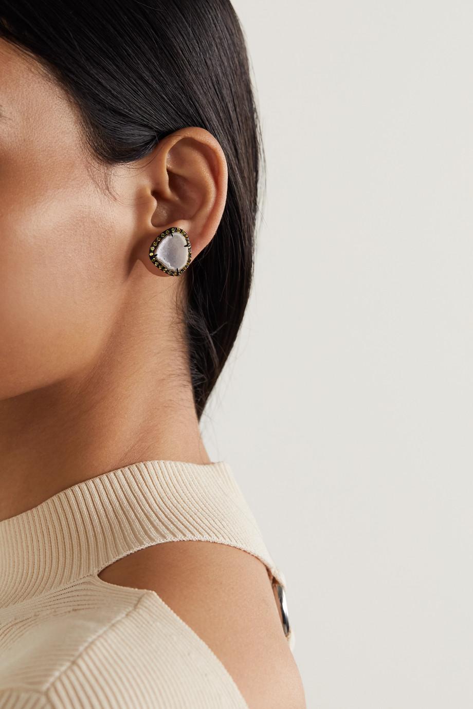 Kimberly McDonald Ohrringe aus geschwärztem 18 Karat Weißgold mit Geoden und Saphiren