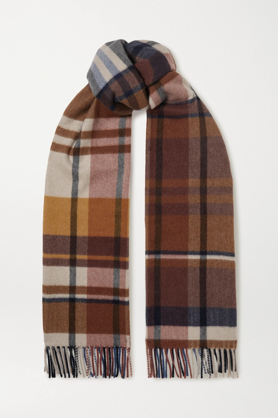 Loro Piana Fringed checked cashmere scarf