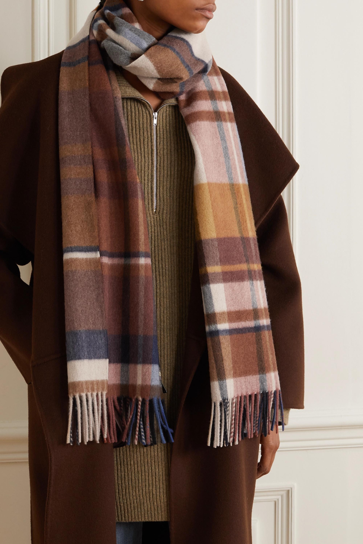 Loro Piana Fringed checked cashmere scarf