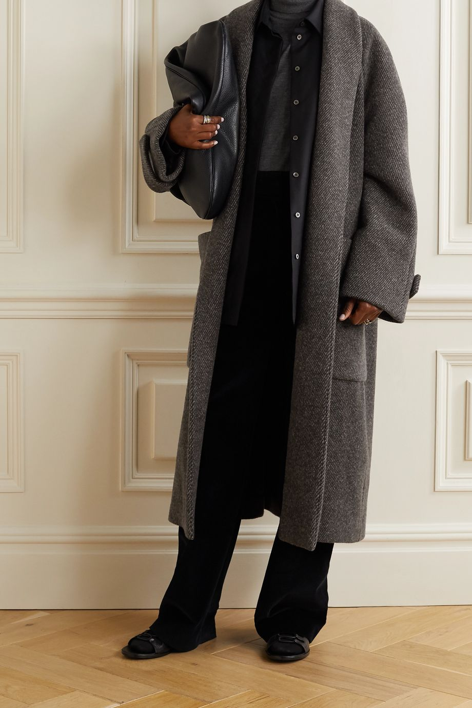 The Row Fiera belted wool-jacquard coat