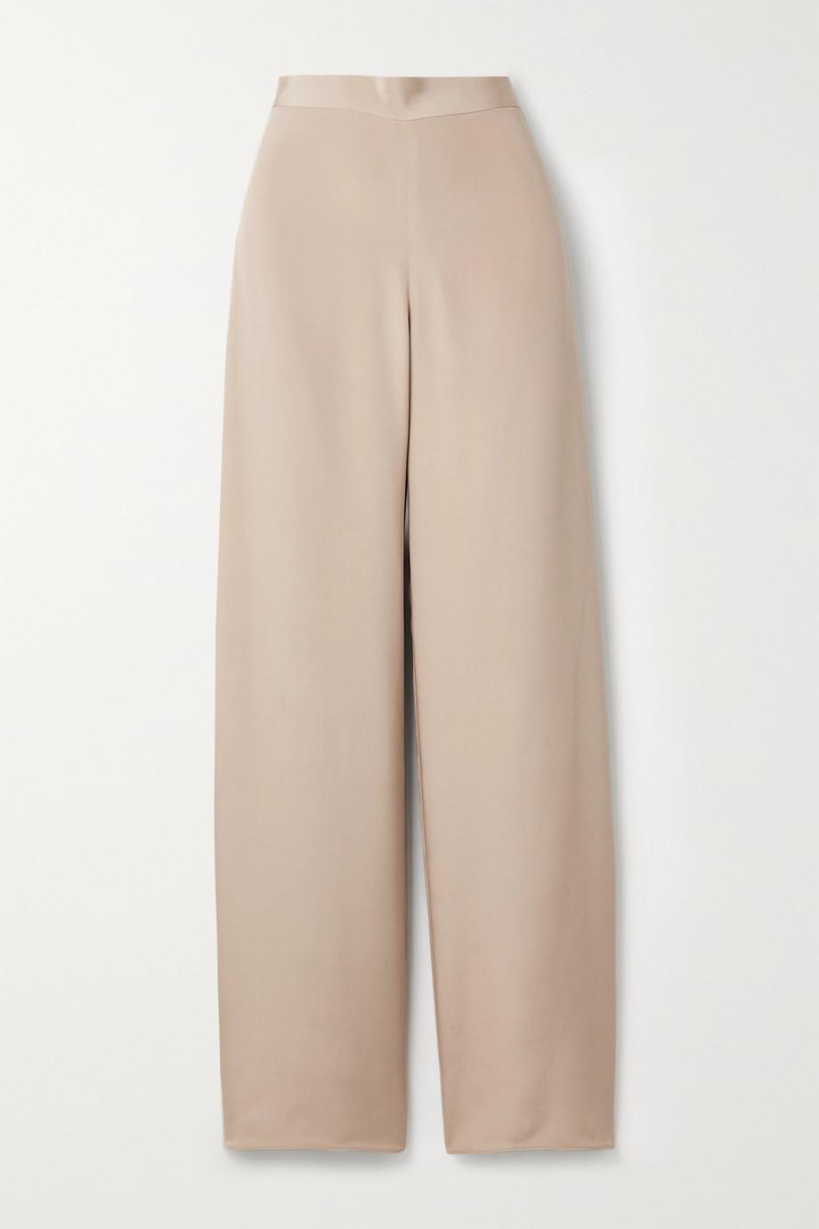 The Row Ole silk-satin straight-leg pants