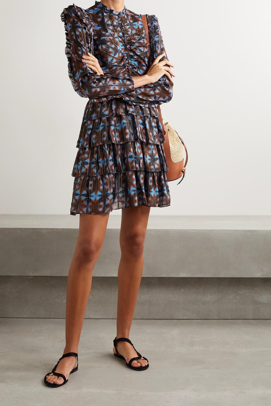 Ulla Johnson Siya tiered printed silk and Lurex-blend voile mini dress