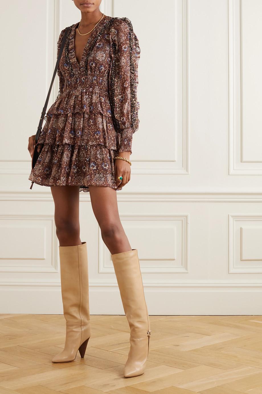 Ulla Johnson Brisa ruffled tiered printed fil coupé silk-blend mini dress