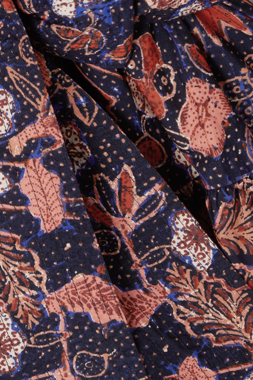 Midnight Blue Naima Belted Ruffled Floral-print Cotton-poplin Mini Dress | Ulla Johnson