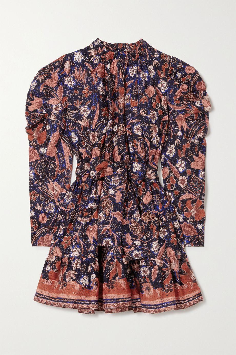 Ulla Johnson Naima belted ruffled floral-print cotton-poplin mini dress