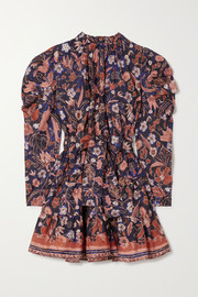 Ulla Johnson Naima belted ruffled floral-print cotton-poplin mini dress