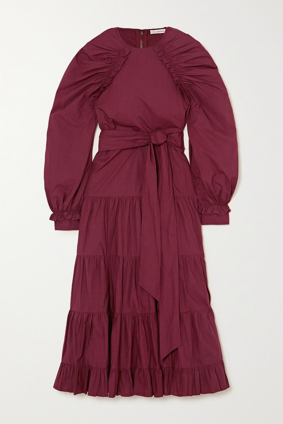 Ulla Johnson Samar belted tiered ruched cotton-poplin midi dress