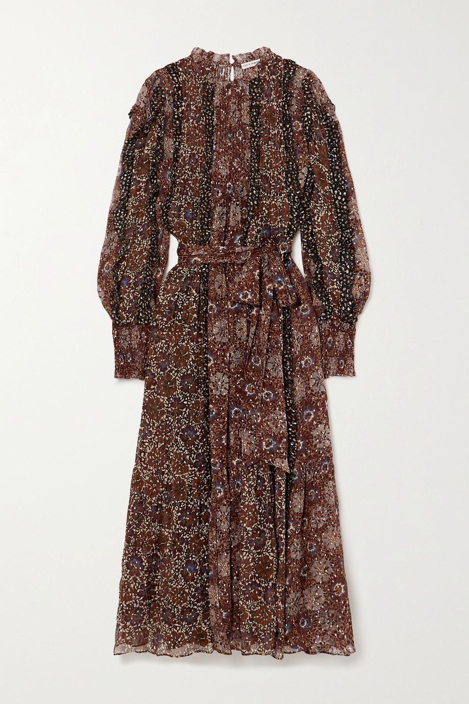 Ulla Johnson Damara belted ruffled printed fil coupé silk-blend midi dress