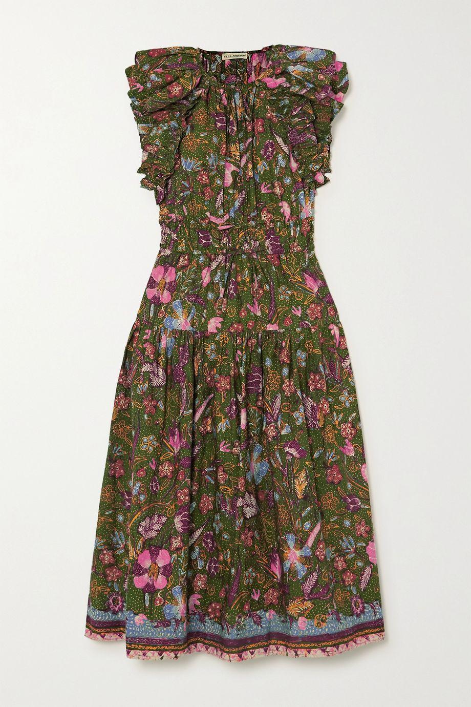 Ulla Johnson Arina tie-detailed ruffled floral-print cotton-poplin midi dress