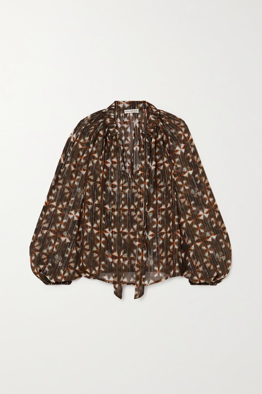 Ulla Johnson Luna tie-detailed printed fil coupé silk-blend blouse