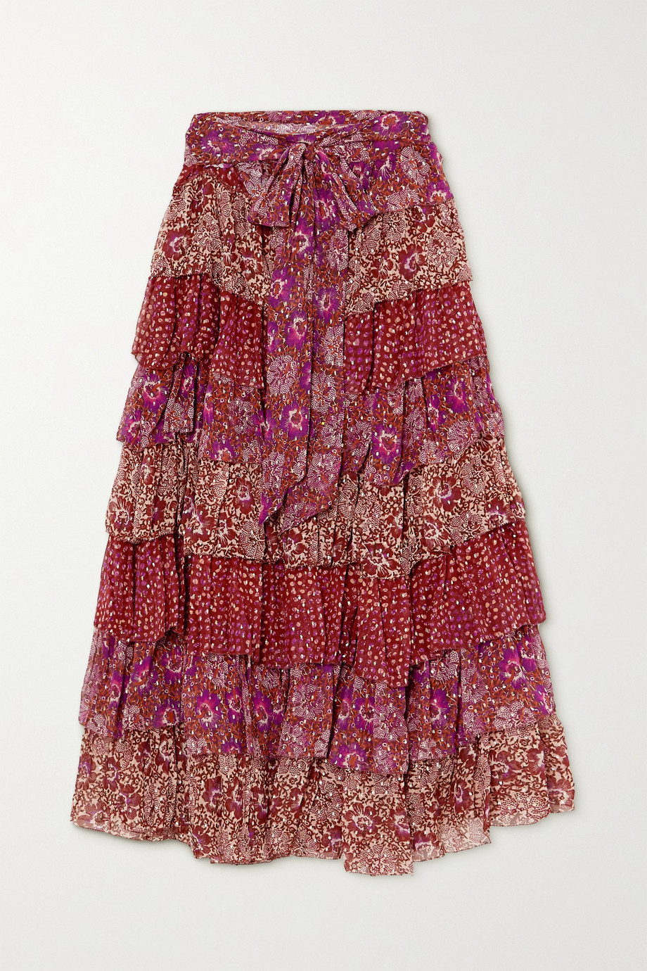 Ulla Johnson Fayanna tiered floral-print fil coupé silk-blend midi skirt