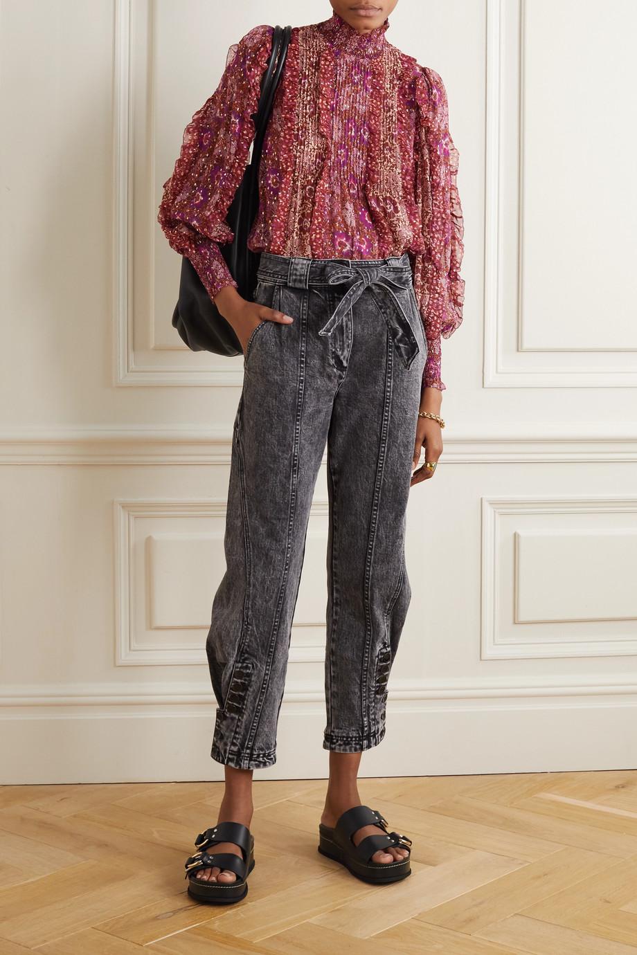 Ulla Johnson Elita ruffled floral-print fil coupé silk-blend blouse