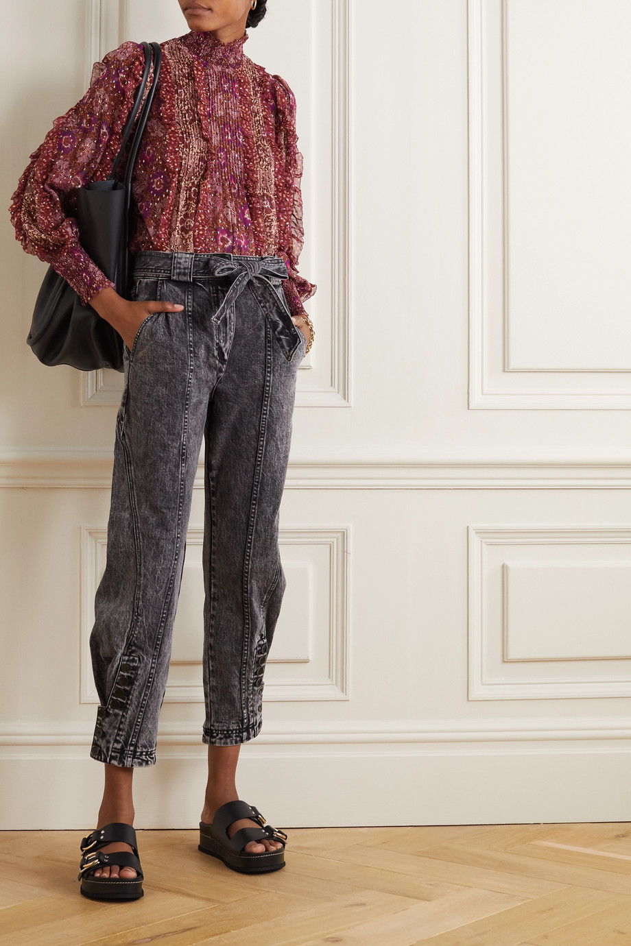 Ulla Johnson Carmen belted acid-wash high-rise tapered jeans