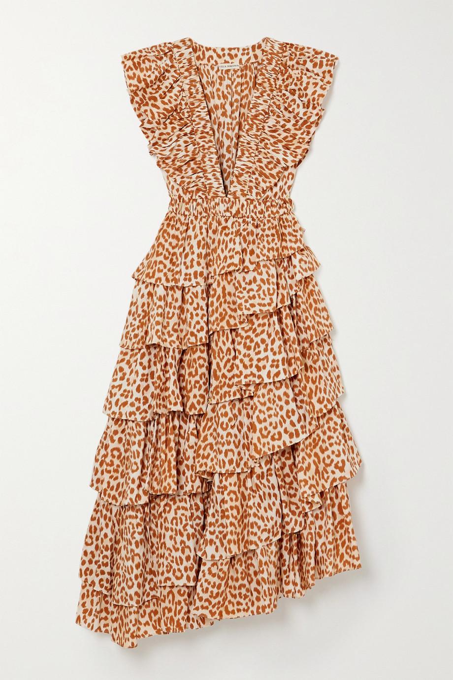 Ulla Johnson Viola asymmetric ruffled cheetah-print duchesse silk-satin midi dress