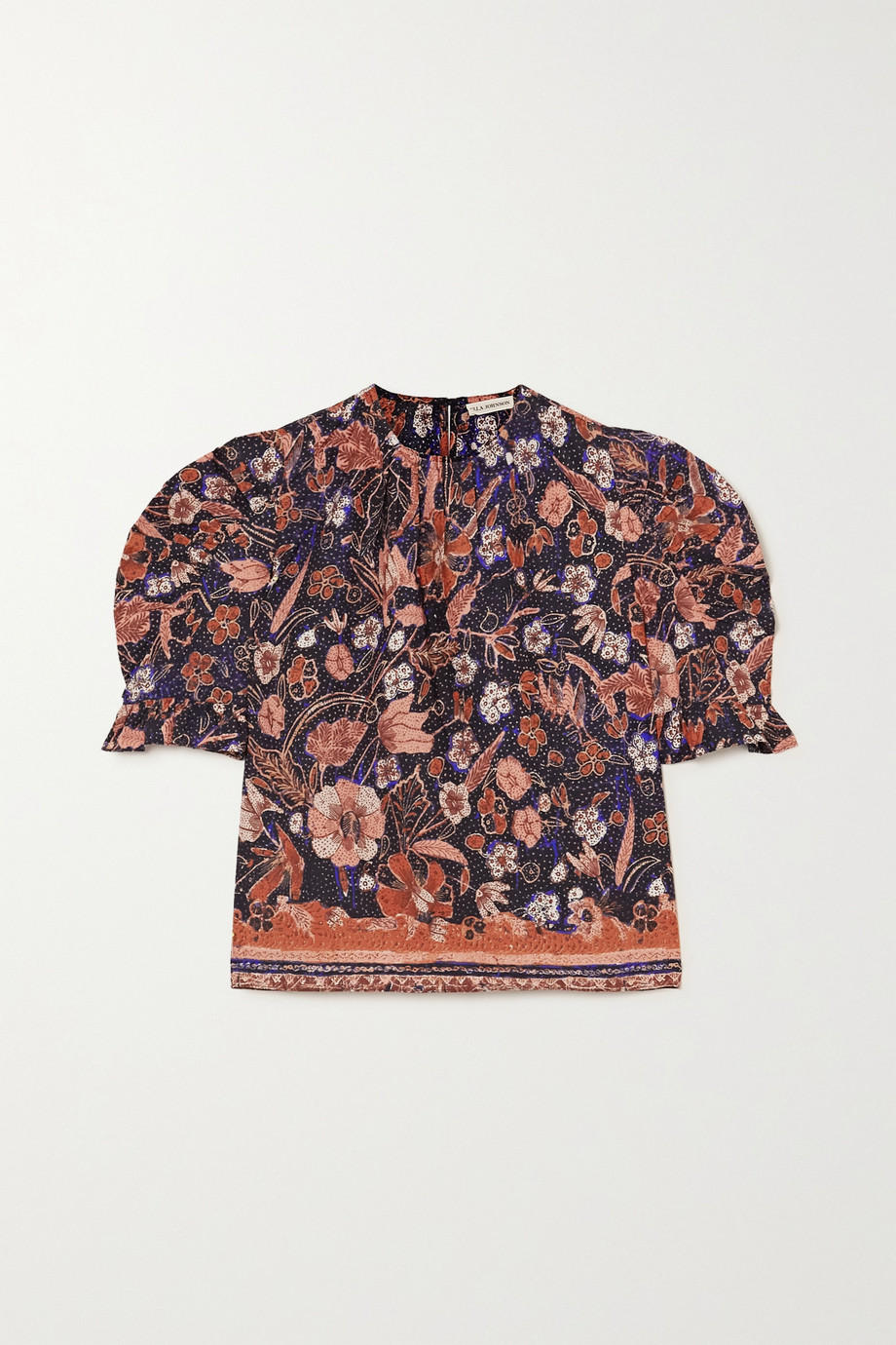 Ulla Johnson Joni ruffled floral-print cotton-poplin blouse