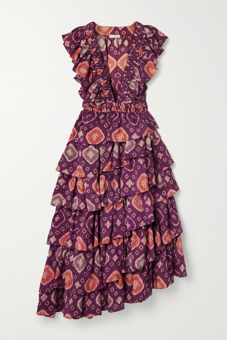 Ulla Johnson Viola asymmetric ruffled floral-print duchesse silk-satin midi dress