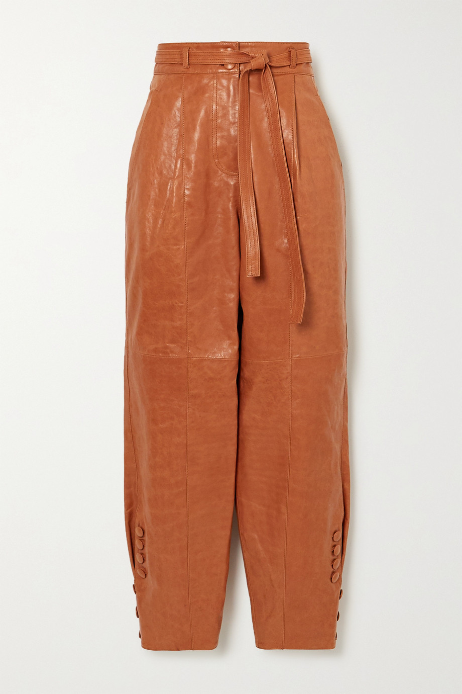 Ulla Johnson Navona belted leather tapered pants