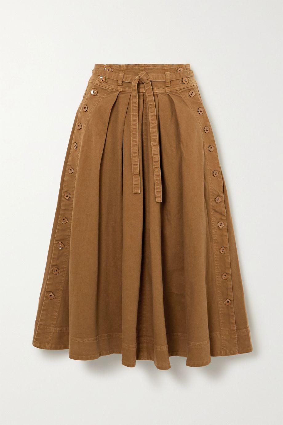 Ulla Johnson Micah belted cotton-blend twill midi skirt