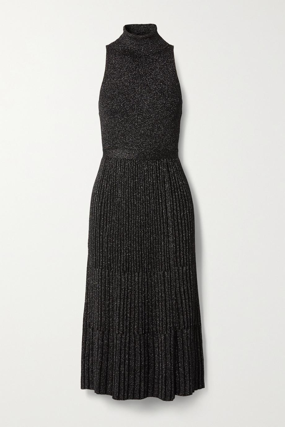 Diane von Furstenberg Lennon ribbed metallic merino wool-blend midi dress