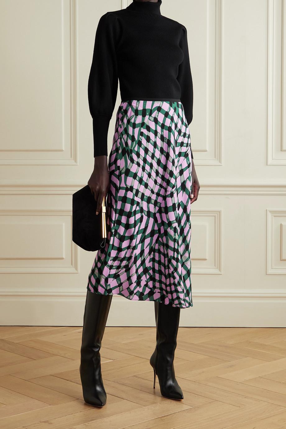 Diane von Furstenberg Mae printed crepe midi skirt